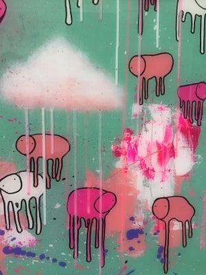 "Image of Raining Cows, ""WATERMELON SKY"" 24""X30"""