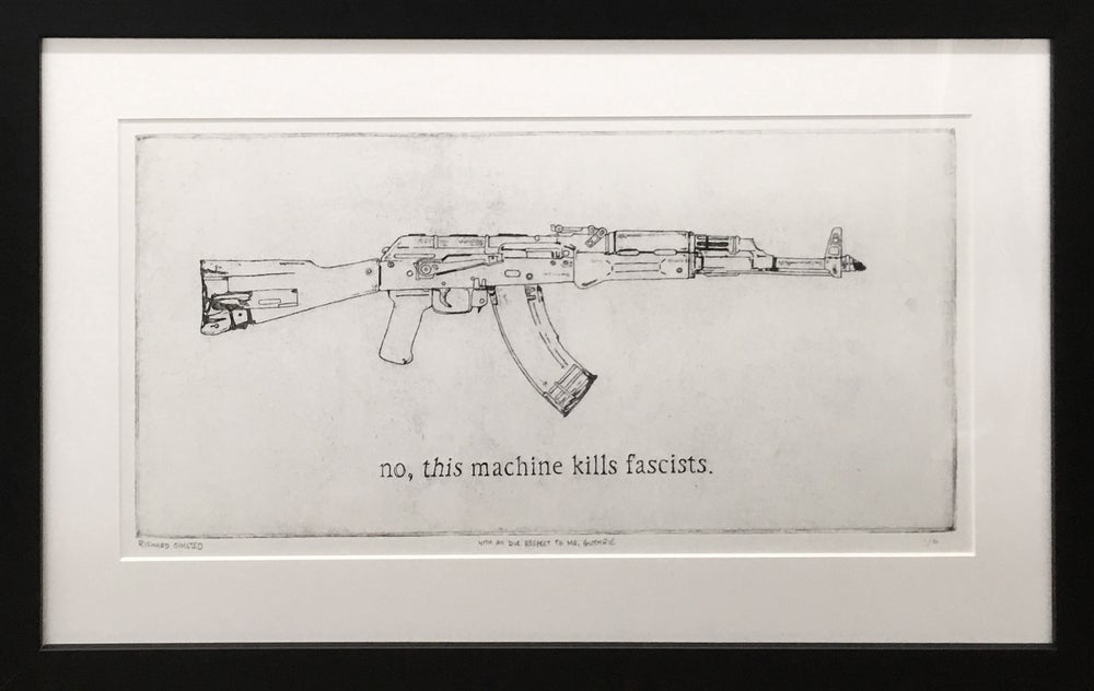 "Image of ""With all due respect to Mr. Guthrie"" intaglio, etching, edition of 30"