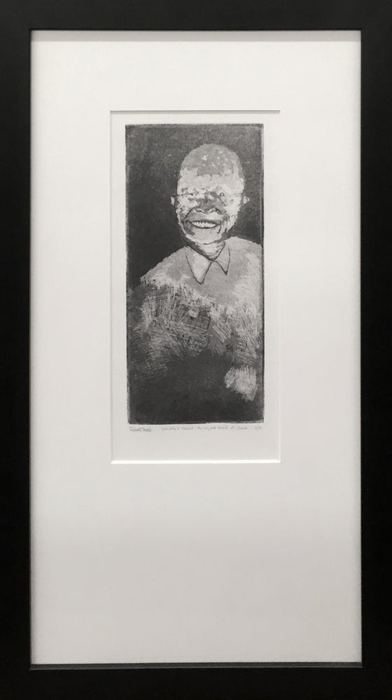 """Image of """"your smile is stained - the cry and march of shame"""" intaglio, edition of 10"""