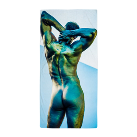 Image of Nude Male Model Beach Towel