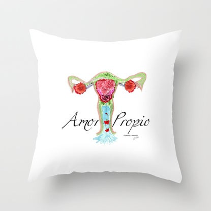 Image of Cojin Amor Propio -  Throw Pillow Uterus: Collage watercolor and photography
