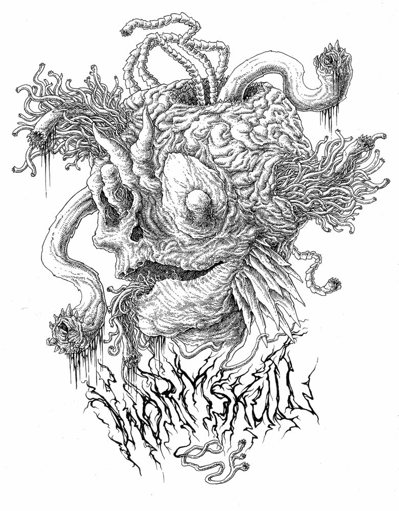 "Image of ""Wormskull"" original NEKROFILTH artwork"