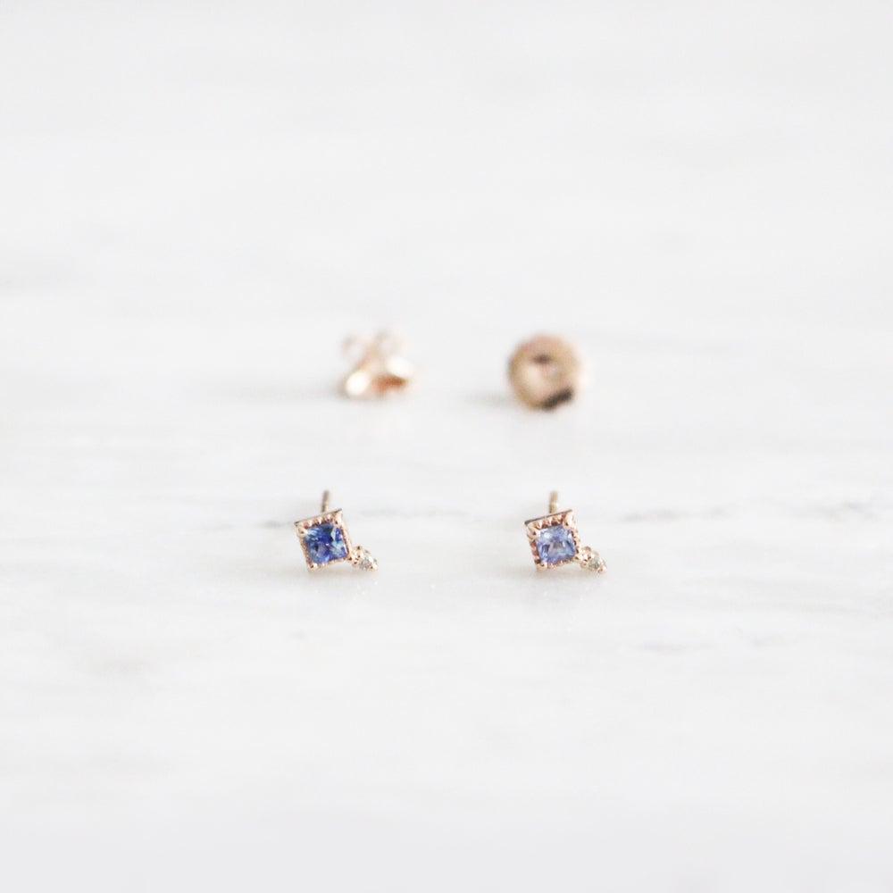 Image of Mini Blue Sapphire Stud