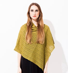 Image of Laceknitted Poncho                          Olivegreen