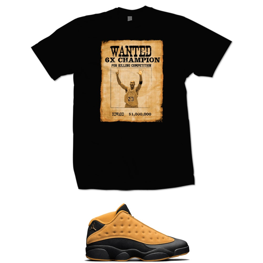 Image of MJ WANTED RETRO 13 CHUNTEY T SHIRT - BLACK