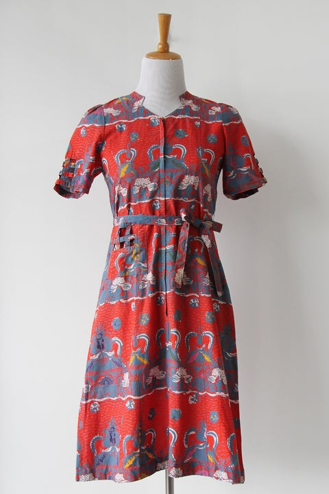 Image of SOLD Basket Batik Red Dress