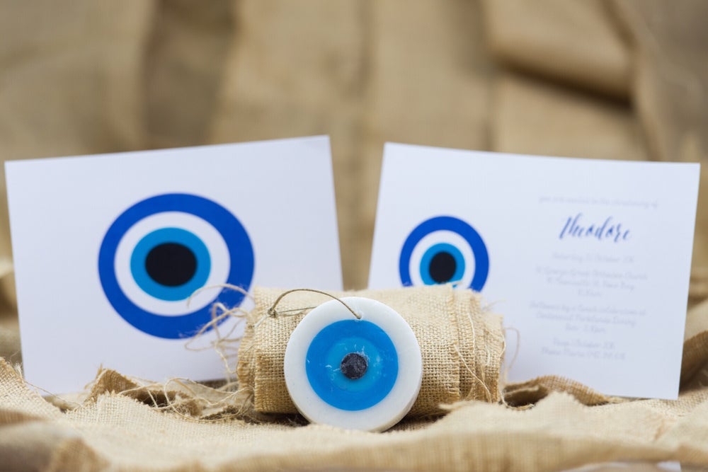 Image of Mati (evil eye) Christening Invitation (white background)