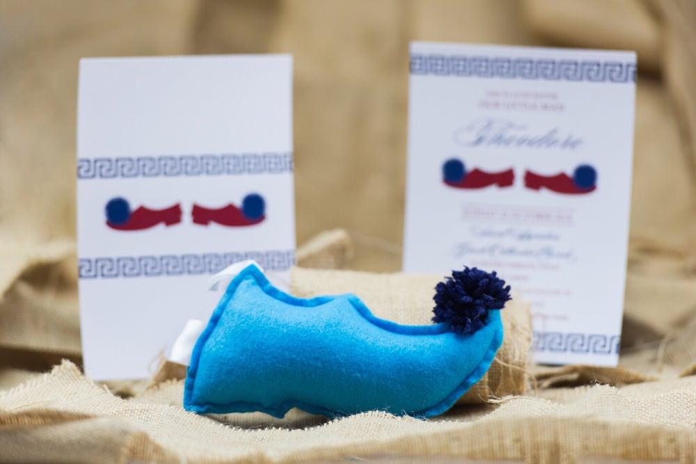 Image of Greek Tsarouhi (Evzones shoe) Christening Invitation