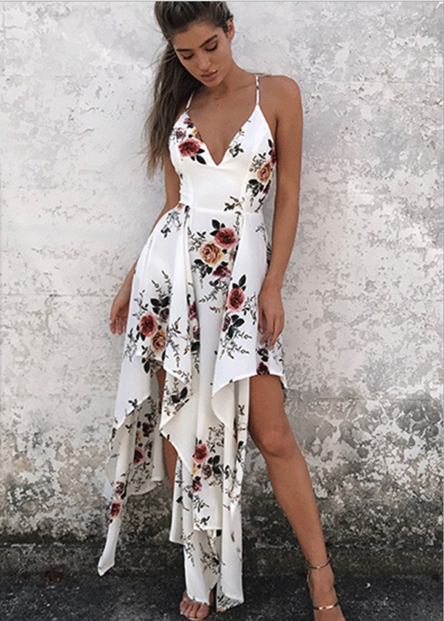 Image of Sexy condole belt Irregular printed dresses