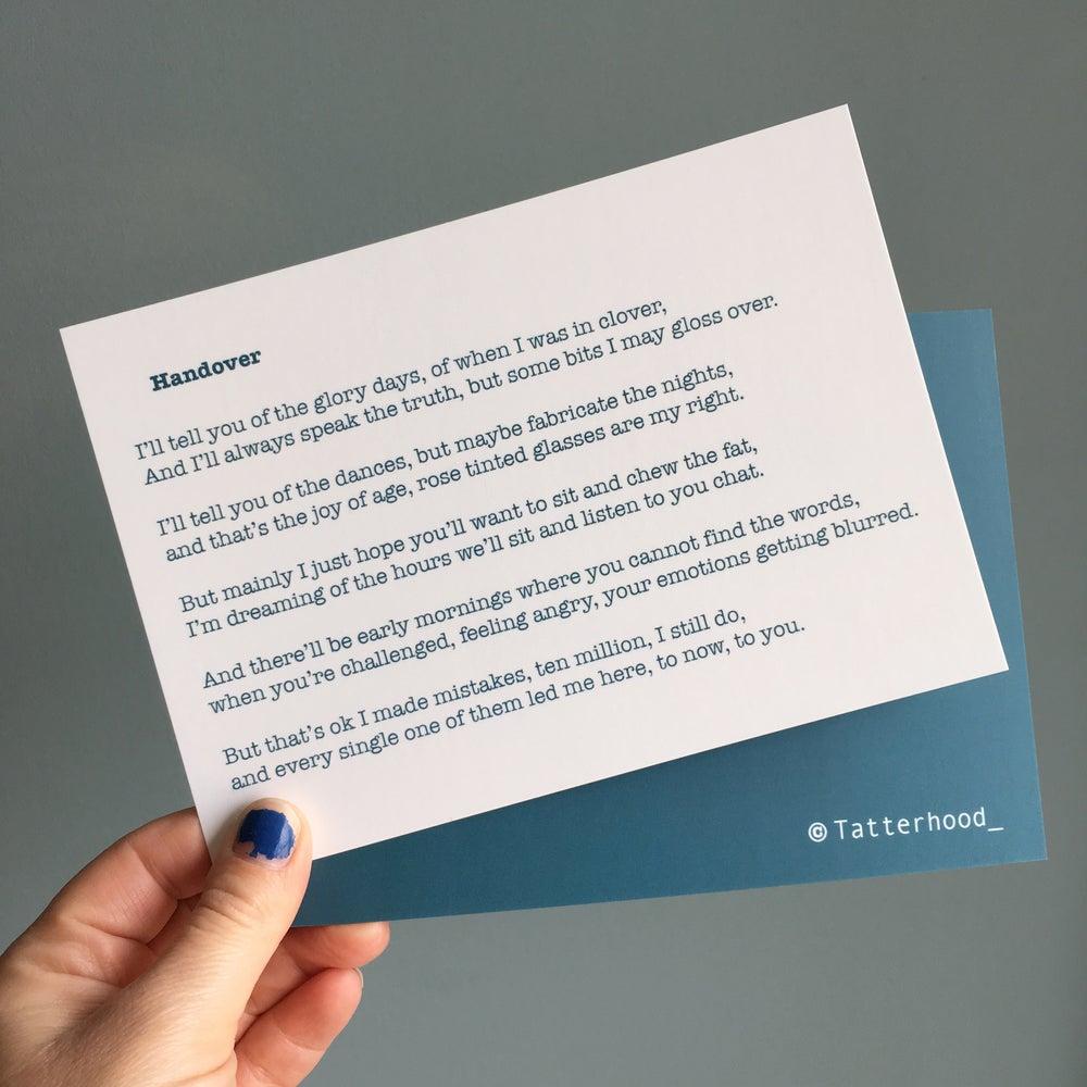 Image of Handover - Poem Postcard (Medium - 7x5 Size)