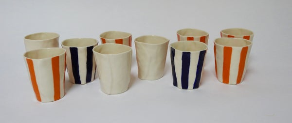 Image of Wine cups with orange or cobalt
