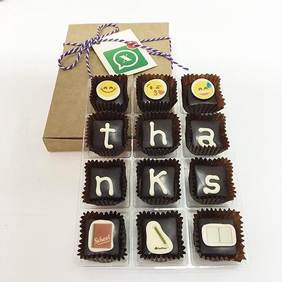 "Image of Xocowhats, missatge de xocolata: ""thanks"""
