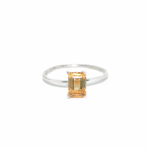 Image of citrine emerald cut solitaire