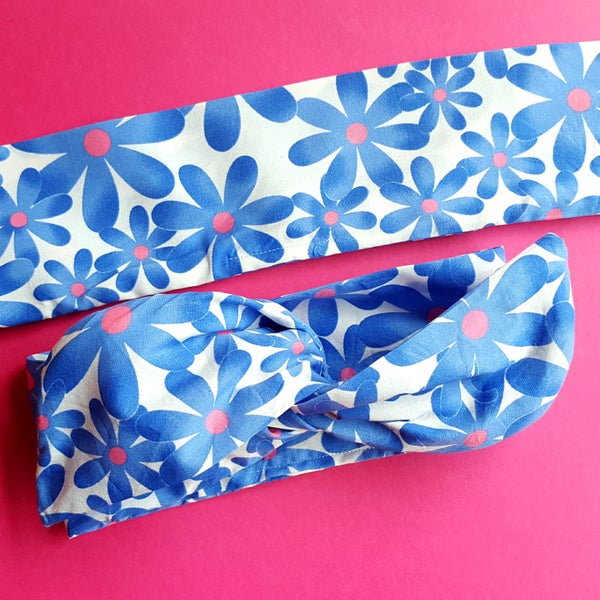 Somethin' Blue Floral Wire Headband - According To Alana Pin Up Wire Headbands and Matchy Accessories