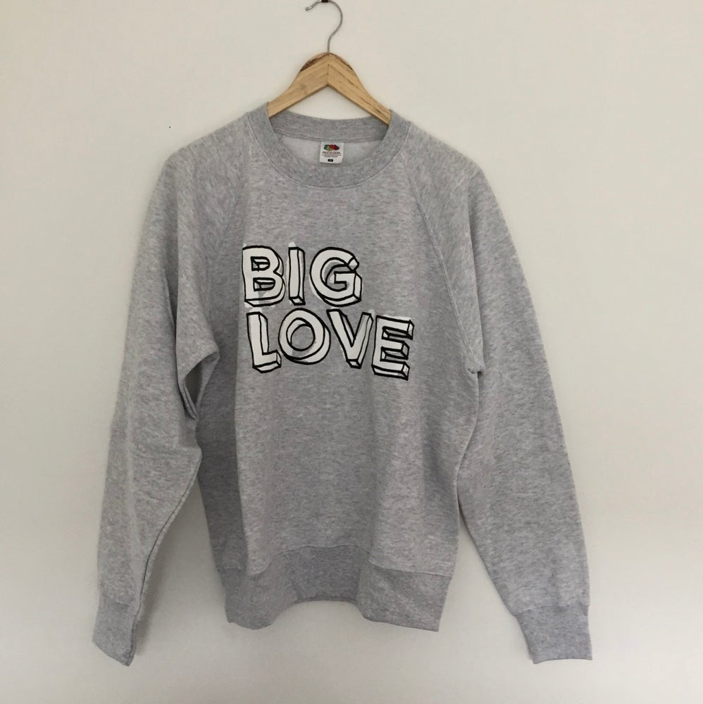 Image of 'BIG LOVE' CLASSIC FIT SWEATSHIRT BLACK & WHITE PRINT ON HEATHER GREY