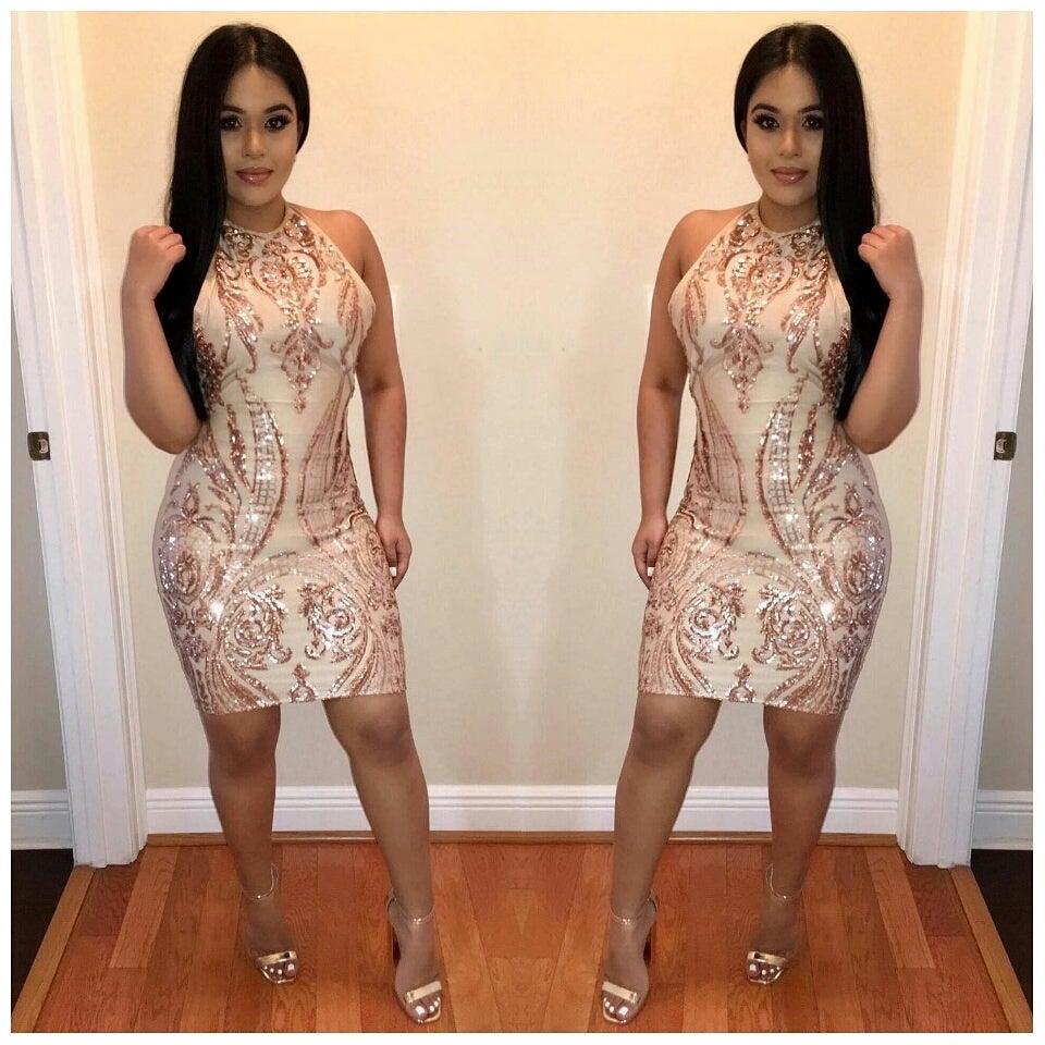Image of Golden Halter Dress