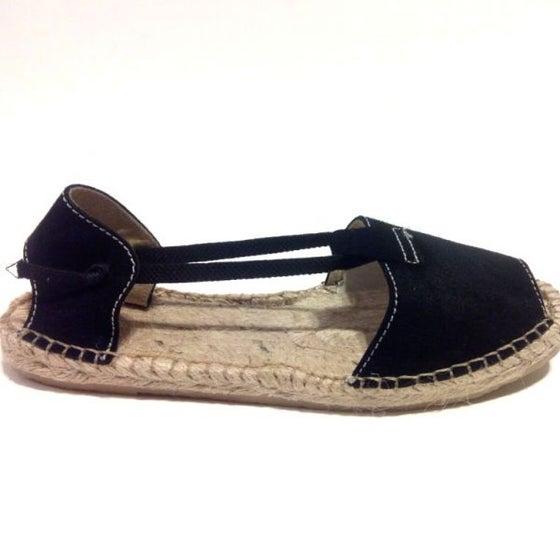 Image of Flat Albarca Espadrilles - A4N - Black Nobuk & Jute -with elastics - EU sizes 35 to 41