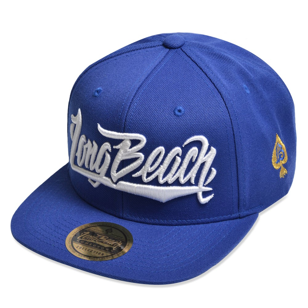 Image of LONG BEACH SCRIPT ROYAL/GOLD SNAPBACK