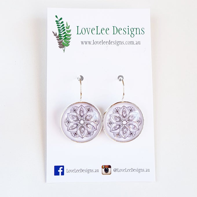 Image of NEW! Earrings - Black & White Mandala