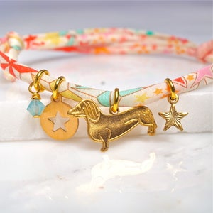 Image of Dog and star Liberty print bracelet
