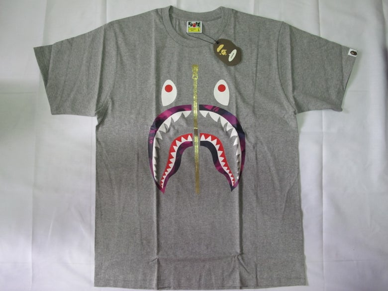 Image of A Bathing Ape (Bape) - SS Grey Camo Shark (Purple)