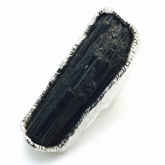 Image of Wide Black Velvet Tourmaline Ring in Silver