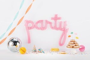 Image of Pink Translucent {Party} Script Balloon