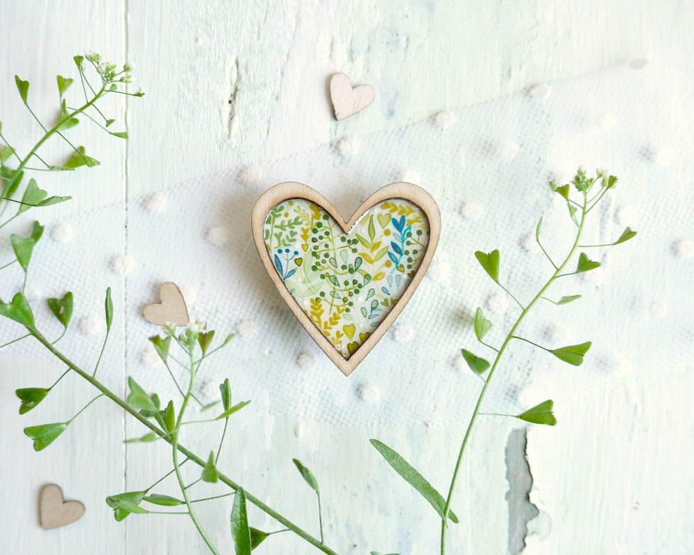 Image of  Green heart brooch
