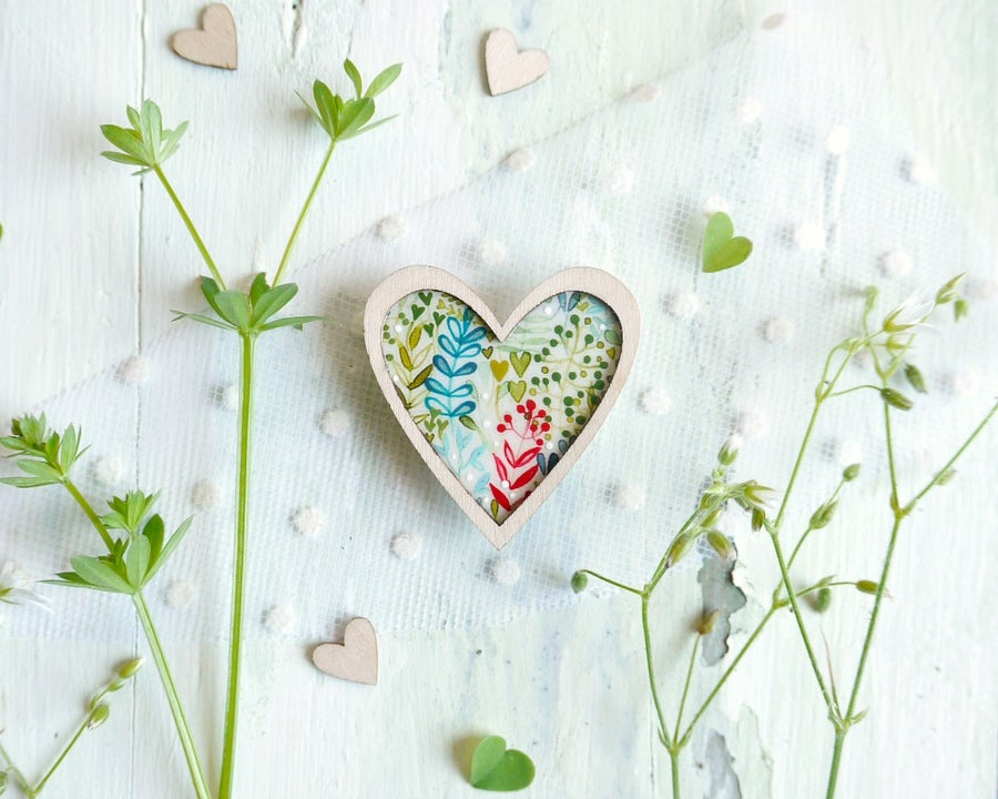 Image of Colorful heart brooch