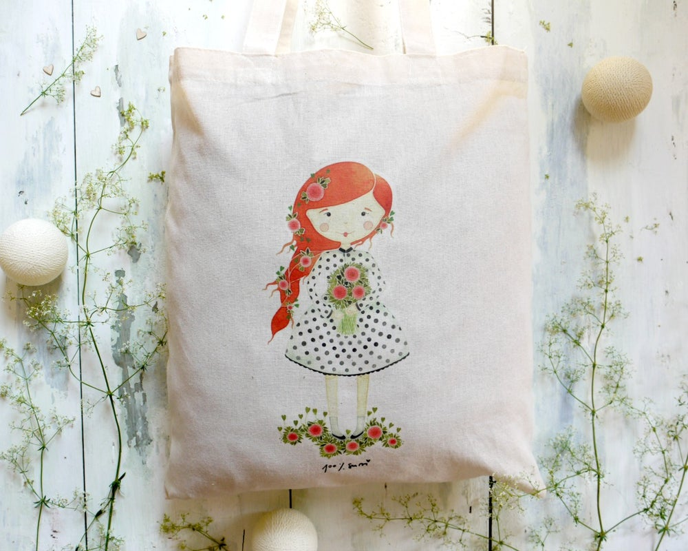 Image of Tote bag - The flower girl