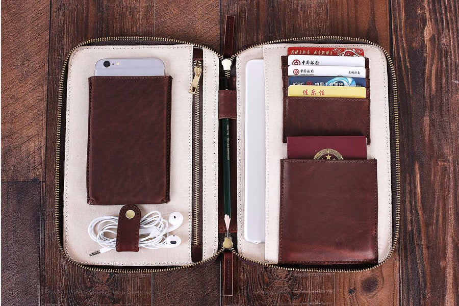 Image of Handmade Custom Leather Travel Wallet, Passport Holder, iPad Organiser B17
