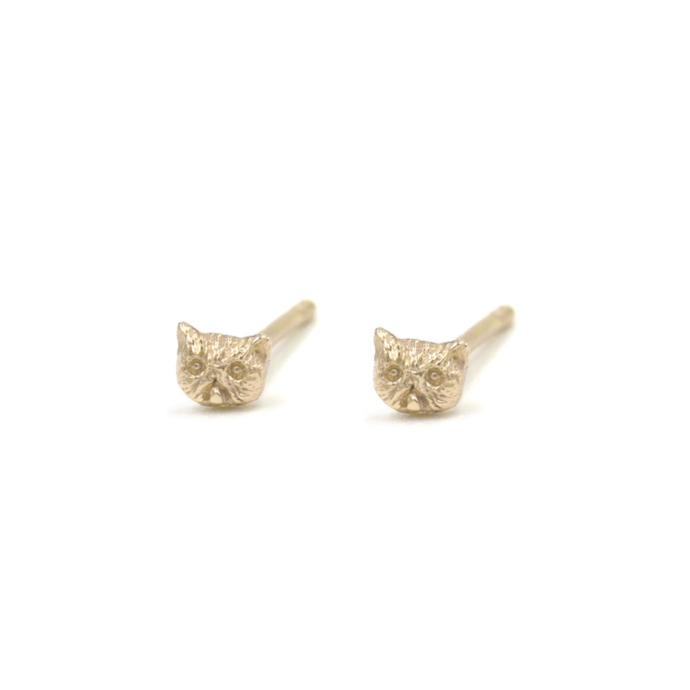 Image of Itty Bitty Kitty Studs- 14k gold