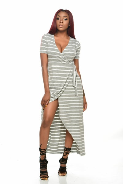 Image of Stripe Wrap Dress