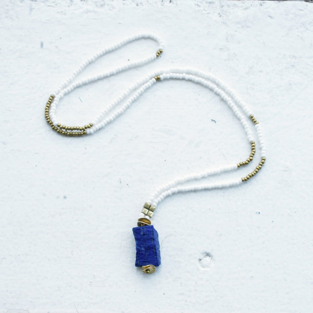 Image of Lapis Pendant necklace  - white