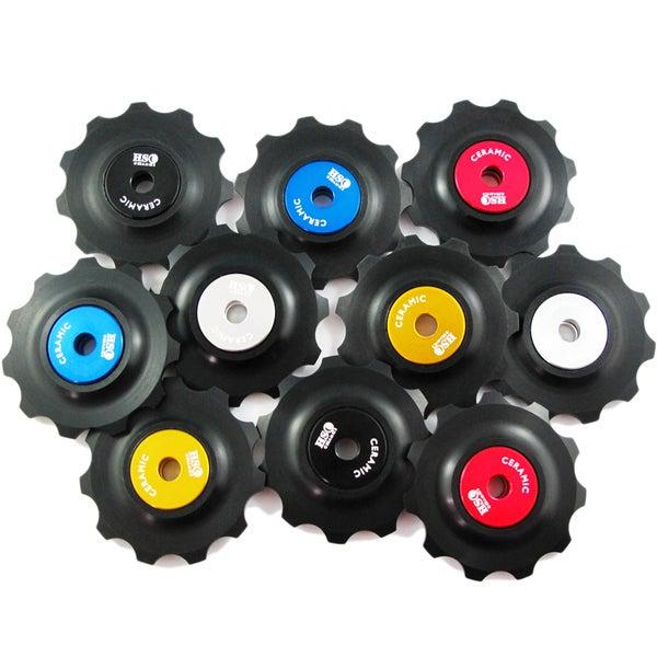 Image of Ceramic Jockey Wheel Set - 11T Plastic Wheels