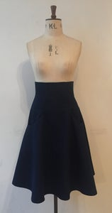 Image of Denim flare high waisted skirt