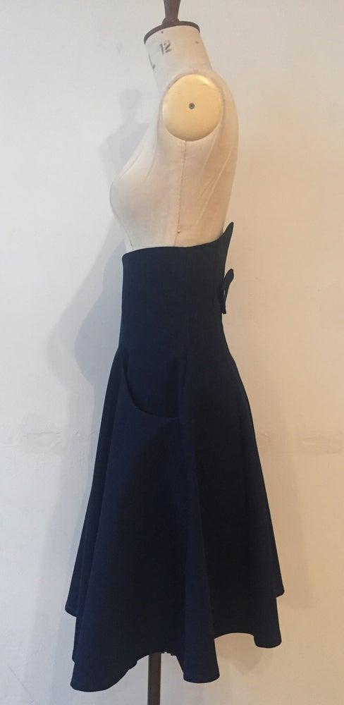 Image of Denim flare high waisted skirt