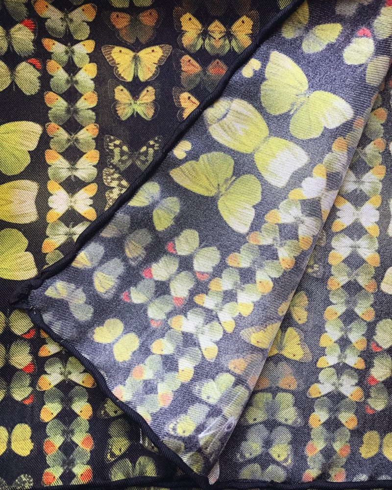Image of YELLOW MUSEUM BUTTERFLIES - 100% SILK TWILL POCKET SQUARE WITH HAND ROLLED EDGES