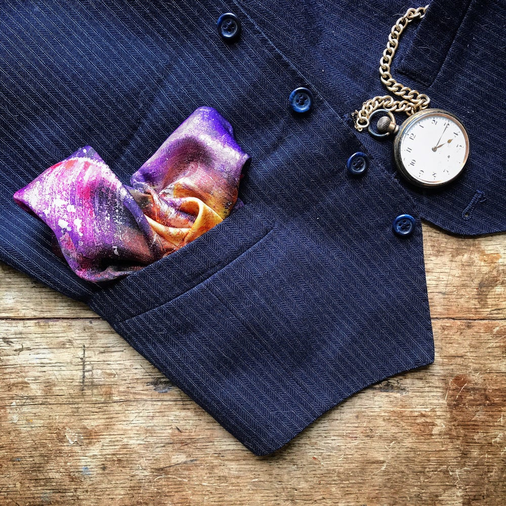 Image of LILY SCENT ABSTRACT PAINTING - 100% SILK TWILL POCKET SQUARE WITH HAND ROLLED EDGES