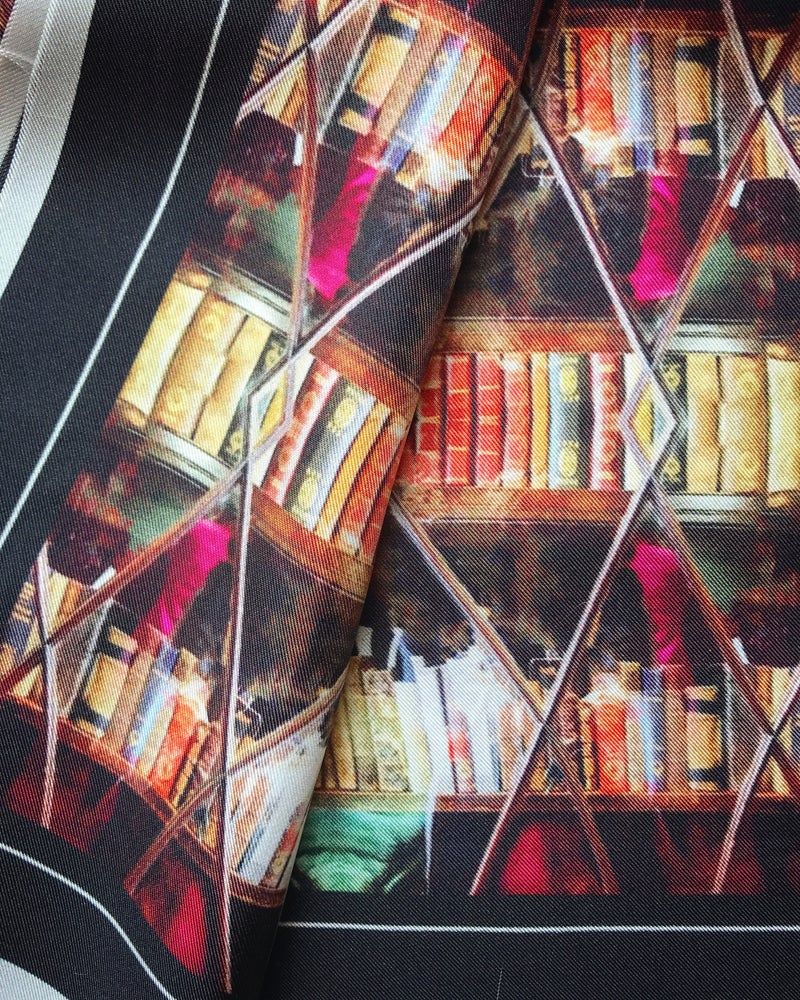 Image of * ON THE WAY * LONDON LIBRARY CABINET - 100% SILK TWILL POCKET SQUARE WITH HAND ROLLED EDGES