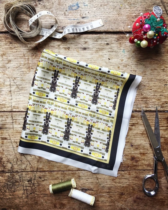 Image of *ON THE WAY* MICROSCOPES - 100% SILK TWILL POCKET SQUARE WITH HAND ROLLED EDGES