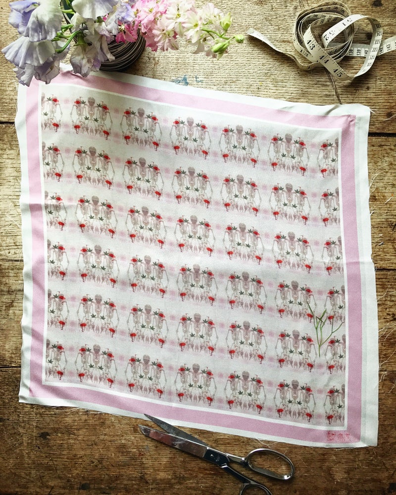 Image of PINK SKELETONS - 100% SILK TWILL POCKET SQUARE WITH HAND ROLLED EDGES