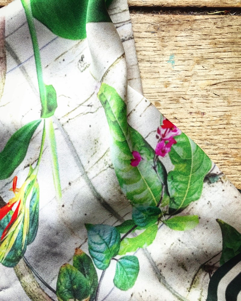 Image of *ON THE WAY* TROPICAL CHELSEA PHYSIC - 100% SILK SATIN SCARF WITH HAND ROLLED EDGES