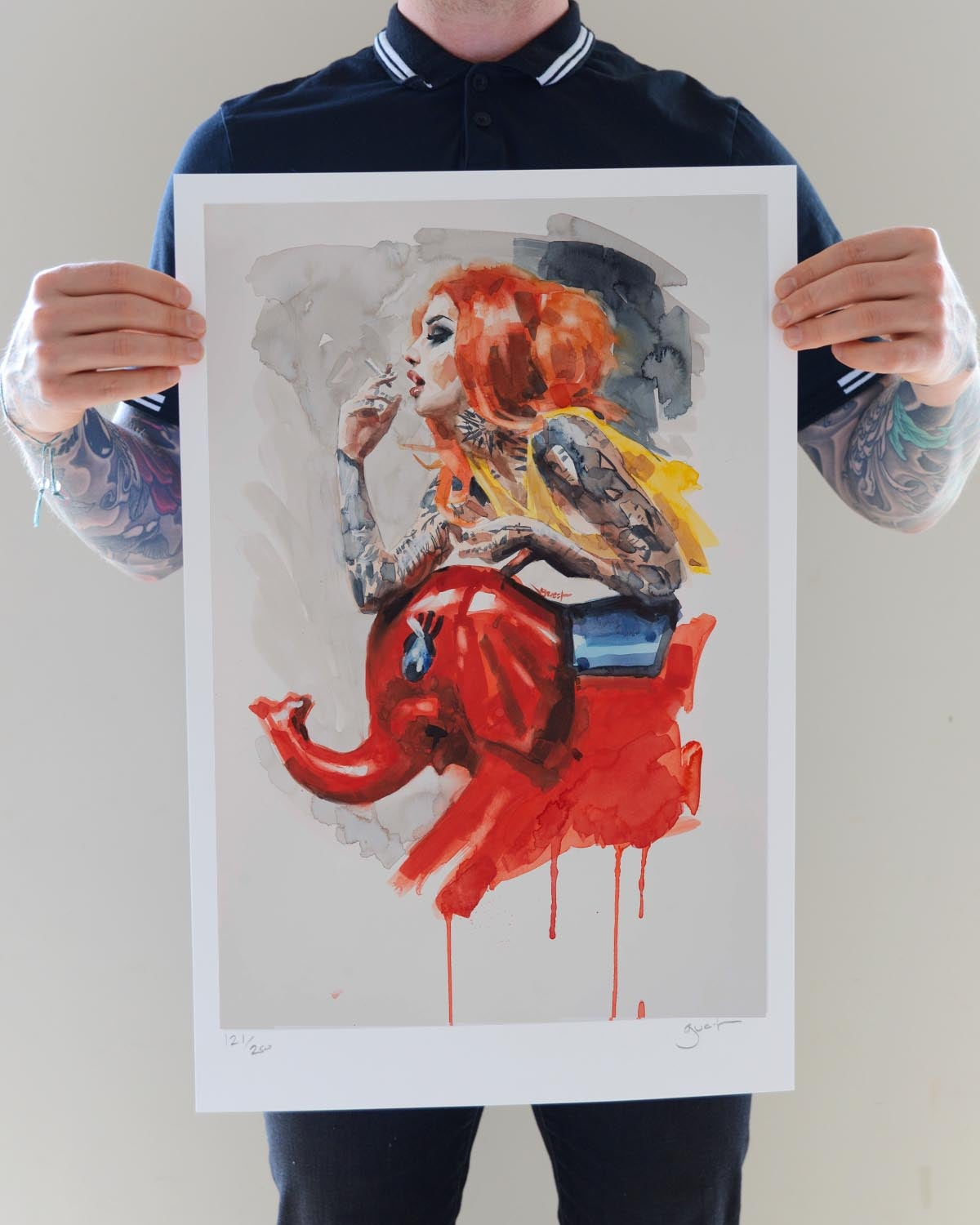 Image of Limited Edition 'RED ELEPHANT' Lithograph Print
