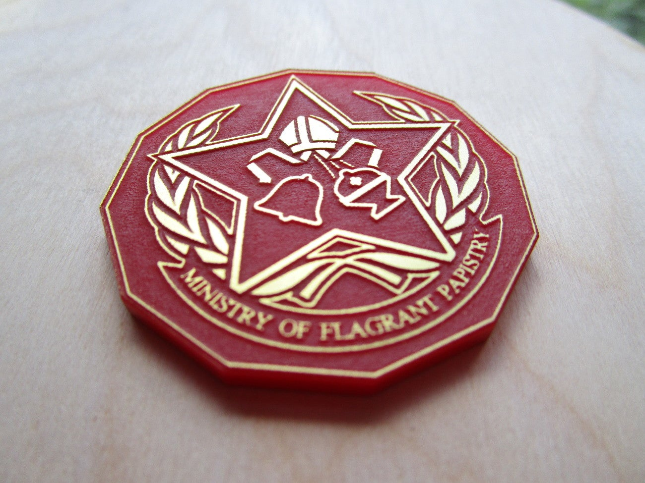 "Image of ""Ministry of Flagrant Papistry"" Badge"