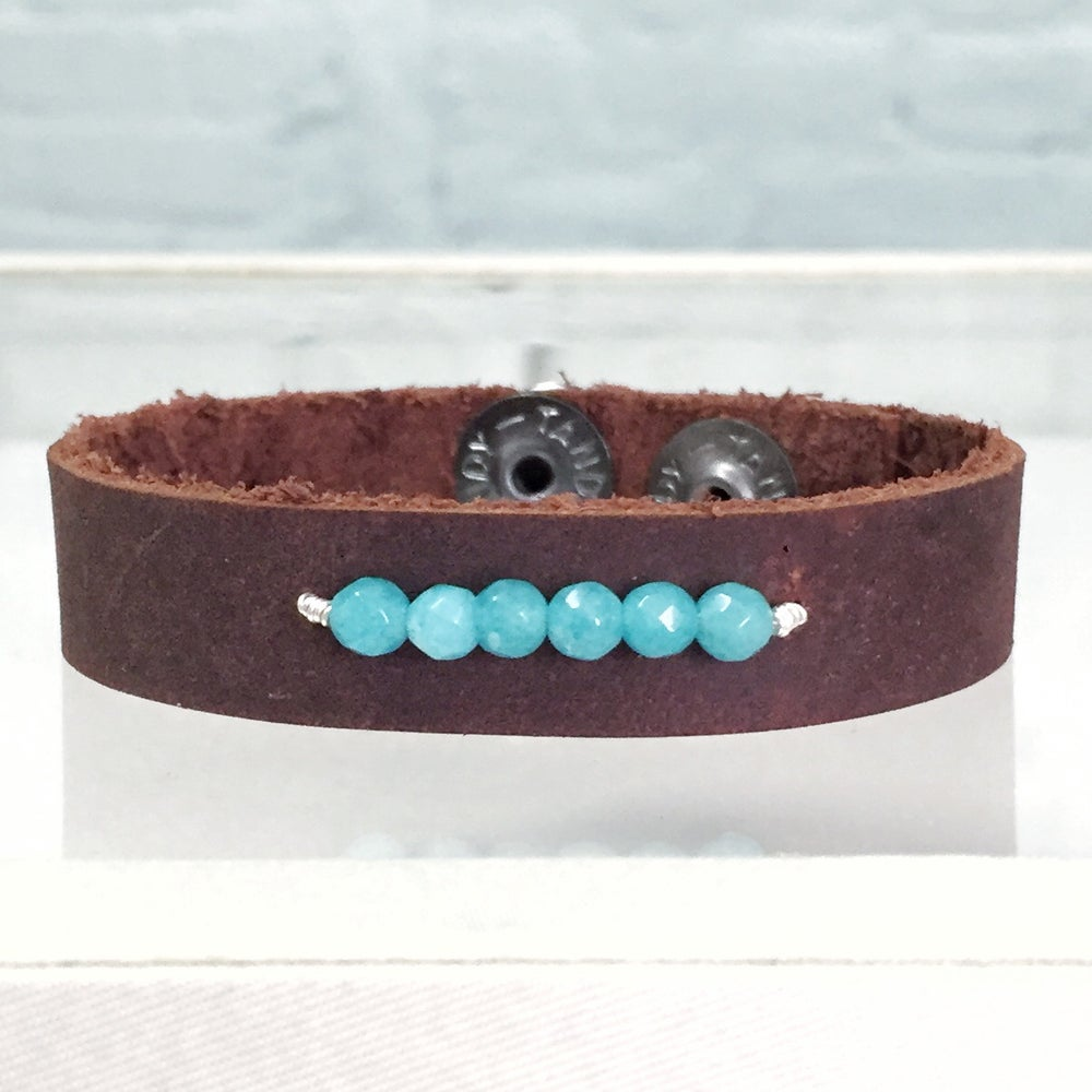 Image of Unisex Beaded Leather Cuff
