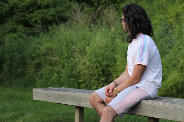 Image of Rainbow Ringer Tee + Color Stripe Shorts