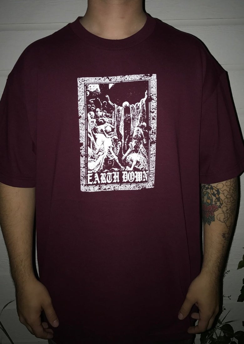 Image of Earth Down Maroon t-shirt