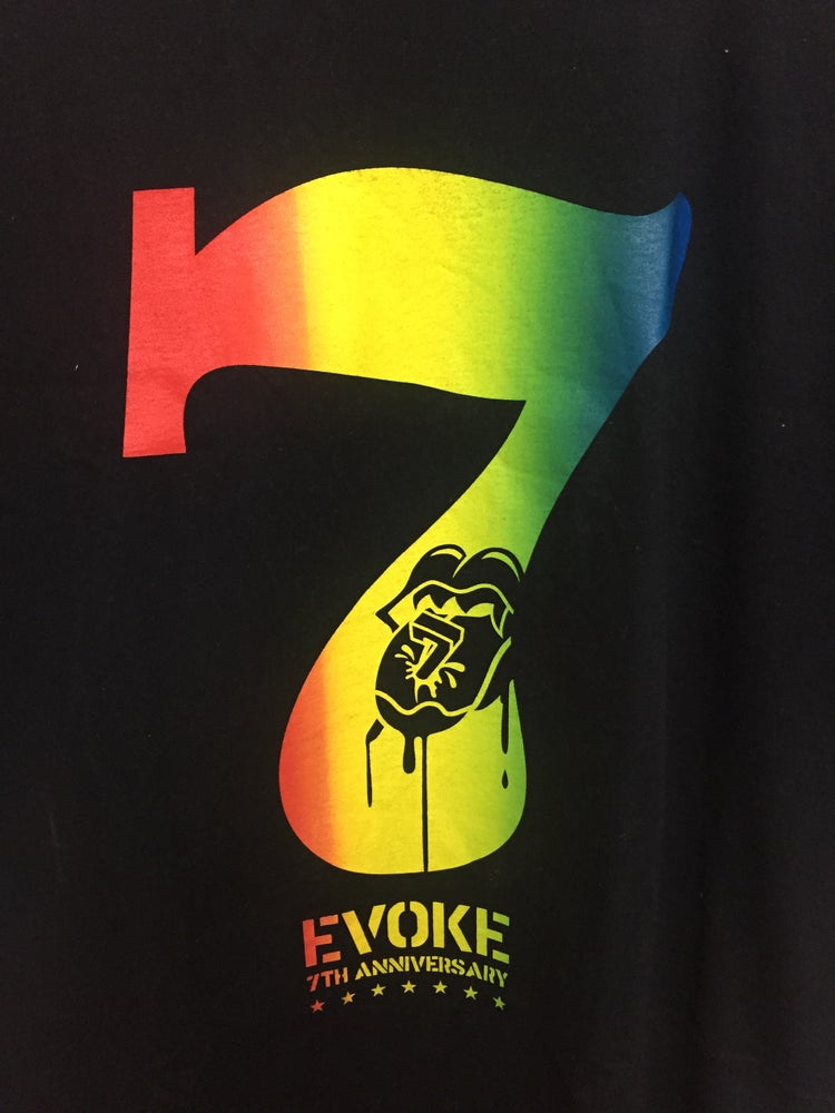 Image of EVOKE 7TH ANNIVERSARY COLLABORATION T-SHIRT Black