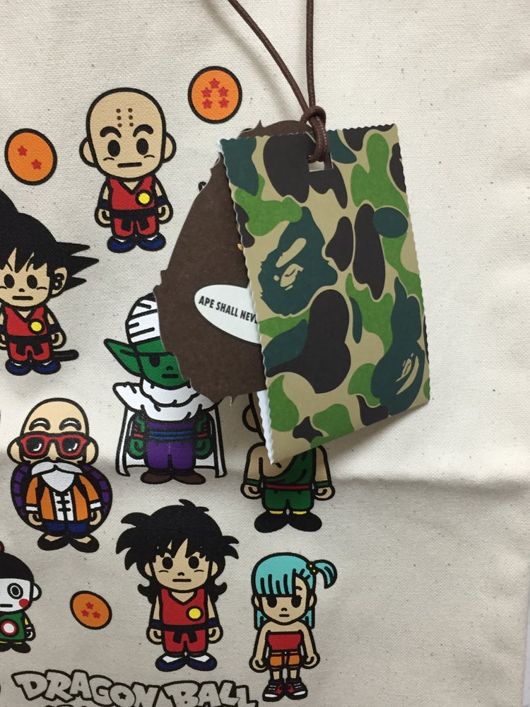 Image of A BATHING APE X DRAGON BALL COLLECTION TOTE BAG White
